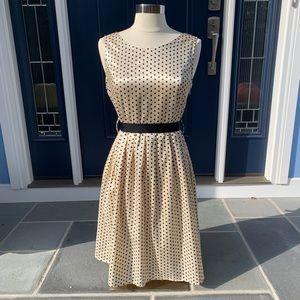 Polka Dot Sheath Dress with Ribbon